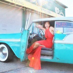 JOVANI Orange Side Slit Gown! #48380